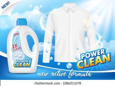 Gel laundry detergent advertising poster. Vector realistic illustration. Liquid washing detergent plastic bottle packaging label design template.