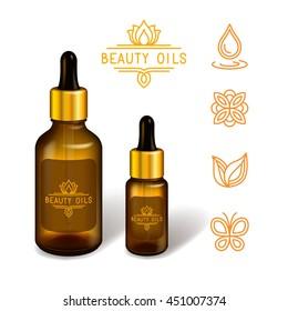 Gel / serum / oil glass bottle mock up. Beauty oil brand logo + healthcare natural icon set. Vector illustration.