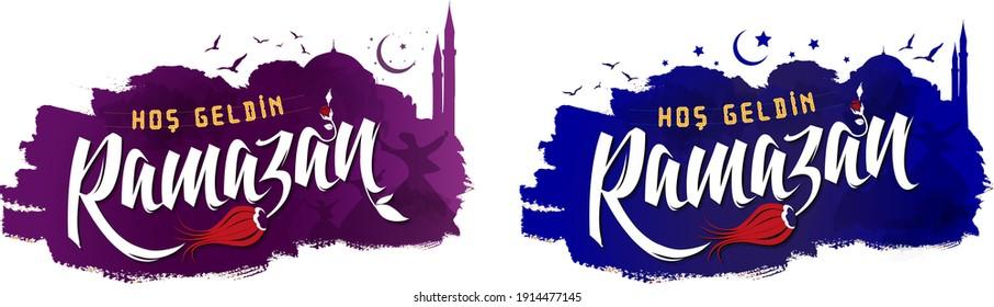 Hoş geldin onbir ayin sultanı ramazan. Lale, karanfil, gül ve bulbul. Hoş geldin mahya. mevlana, cami ay yıldız, gunes ve gun batimi. Ramadan eleven ritual sultan ramadan welcome.