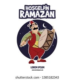 Hoş geldin Ramazan. Translate Welcome Ramadan. Ramadan kareem, ramadan drummer, islamic and turkish celebration