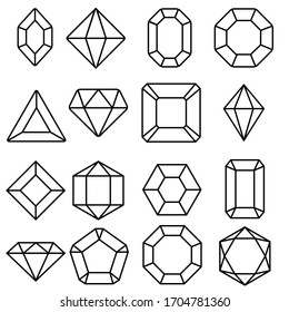 Gem icon vector set. Geometric gems diamonds illustration sign collection. sapphire precious jewels symbol.