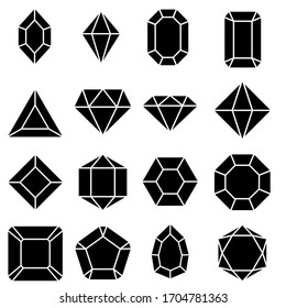 Gem icon vector set. Geometric gems diamonds illustration sign collection. sapphire precious jewels symbol.