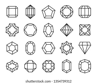 Gem line. Geometric gems diamonds and sapphire precious jewels outline shape carat brilliant valuable stone luxury gemstones crystal vector simple icons
