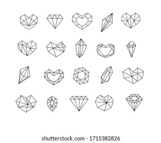 gem stone crystal icon set monoline line art. Doodle diamonds collection for web design, book illustration.