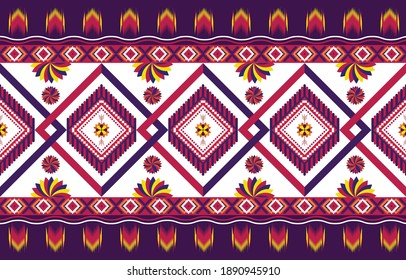 Gemetric ethnic oriental ikat pattern traditional Design for background,carpet,wallpaper,clothing,wrapping,batic,fabric,vector illustraion.embroidery style.