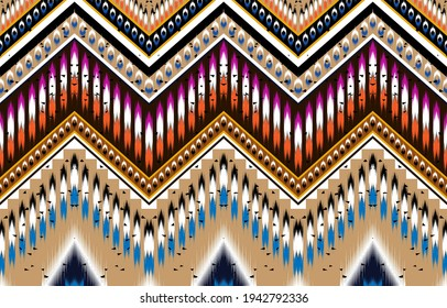 Gemetric ethnic oriental ikat pattern traditional Design for background,indian,border,carpet,wallpaper,clothing,wrapping,batic,fabric,print, illustraion