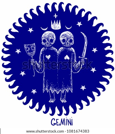 Gemini Horoscope Astrology Skeleton Character Zodiac Sign With Stars In Circle Isolated On The White