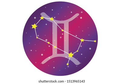 Gemini signs, zodiac background. Beautiful and simple vector images in the middle of the starry galaxy, along with the Gemini constellation in front of a sphere with the symbol of Gemini.