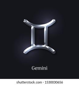 Gemini silver zodiac sign on black background. Luxury star sign for astrology horoscope prediction. Glossy zodiac symbol. Realistic silver design of horoscope constellation vector illustration