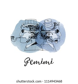 Gemini steampunk zodiac. Hand drawn vector sketch