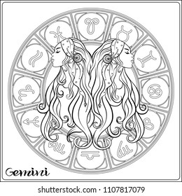 Gemini, twins, girls Zodiac sign. Astrological horoscope collection. Outline vector illustration. Outline hand drawing coloring page for the adult coloring book.
