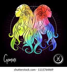 Gemini, twins, girls  Zodiac sign. Astrological horoscope collection. Multicolor on black dackground. Vector illustration