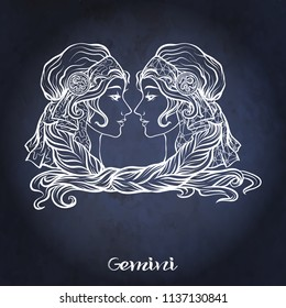 Gemini, twins, girls Zodiac sign. Astrological horoscope collection. White on dark  blue, black space  background. Vector illustration