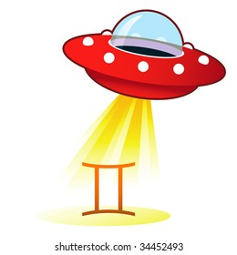 Gemini zodiac astrology sign icon on retro flying saucer UFO with light beam.
