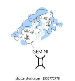 Gemini Zodiac constellation. One line. Vector illustration in the style of minimalism. Continuous line.The symbol of the astrological horoscope. Hand-drawn illustration.