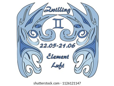 Gemini Zodiac, with german text: Gemini, Date, Element Air, Vector Art eps10