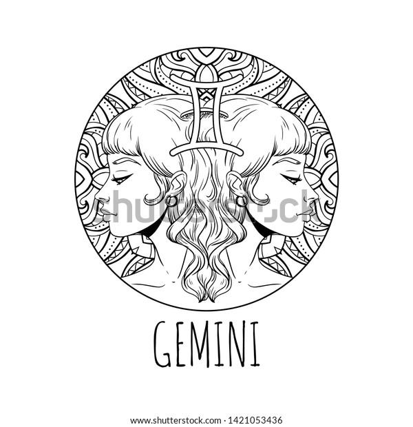 Gemini Zodiac Sign Artwork Adult Coloring Stock Vector (Royalty Free)  1421053436