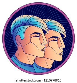 Gemini zodiac sign, astrological horoscope symbol. Futuristic style icon. Stylized graphic portrait young guys from the future with stylish modern hairstyle Undercut and blue hair. Vector illustration