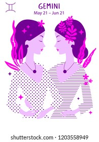 Gemini zodiac sign. Girl vector illustration. Astrology zodiac profile. Astrological sign as a beautiful women. Future telling, horoscope, alchemy, spirituality, occultism, fashion