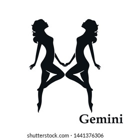 Gemini zodiac sign horoscope symbol. isolated astrological icon in simple black and white style