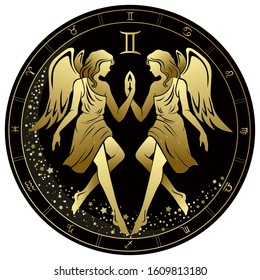 Gemini Zodiac Sign. Two angels. Twins. Golden circle on a black background. Vector illustration.