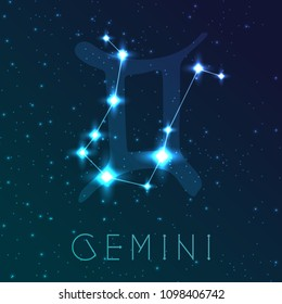 Gemini zodiac sign. Vector illustration with constellations and hand-drawn astronomical symbols. Shining stars in the night sky.