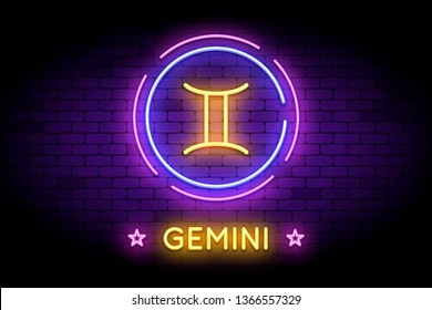 The Gemini zodiac symbol, horoscope sign in trendy neon style on a wall. Gemini astrology sign with light effects for web or print.
