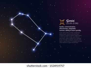 Gemini zodiacal constellation and bright stars. Gemini star sign and dates of birth on deep space background. Astrology horoscope prediction with unique positive personality traits vector illustration