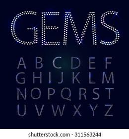 Gems alphabet. All capital letters. Shiny diamond font