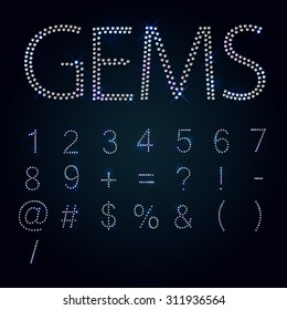 Gems alphabet. All numbers and signs. Shiny diamond font