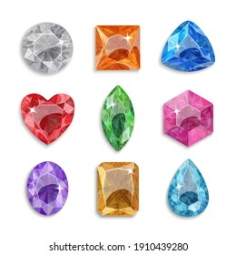 Gems of different shapes. Set of multi-colored crystals. Jewelry.