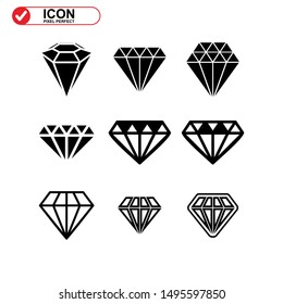 gems icon isolated sign symbol vector illustration - Collection of high quality black style vector icons