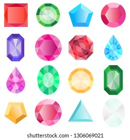 Gems isolated on white background. Jewels set, gems and diamonds icons isolated, different colors flat design. Vector jewels or precious diamonds gem set.