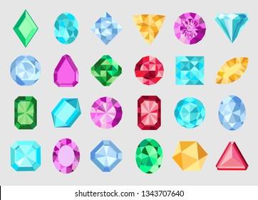 Gems isolated on white background. Vector jewels or precious diamonds gem set. Diamonds set.