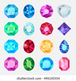 Gems isolated on white background. Vector jewels or precious diamonds gem set