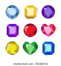 Gems isolated on white background. Vector jewels or precious diamonds gem set.