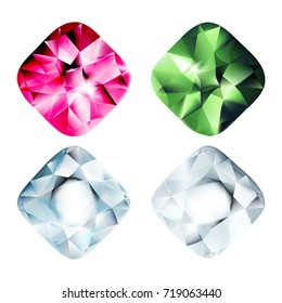 Gems isolated on white background. Vector jewels or precious stones collection