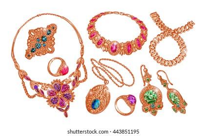 Gems, jewelry. gold, wedding ring, necklace choker bracelet earrings chain Vector illustration