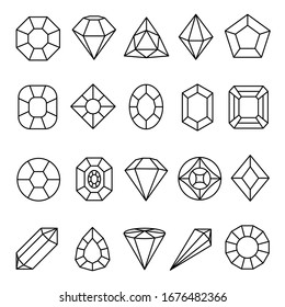 Gems line art icon set, jewelry and luxury sign. Gemstone graphic shape, precious or treasure symbol. Vector line art gems illustration on white background