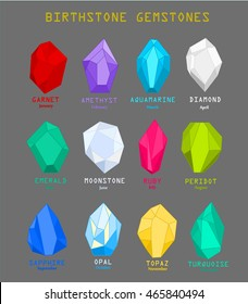 Gems and mineral crystals vector illustration, Birthstone gemstones chart