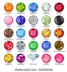 Gems naming chart infographics, vector illustration isolated on white background