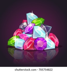 Gems pile cartoon illustration. Colorful diamonds on dark background. Vector heap of jewels.