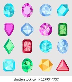 Gems. Vector jewels or precious diamonds gem set. Diamond or brilliants icons set. Colorful diamonds vector collection.