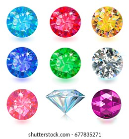 Gemstone bright flatlay set (top, side view) isolated on white background, vector illustration