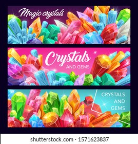 Gemstone, crystal and mineral rock vector banners of magic gems, precious stones and jewels. Pink quartz, diamond and amethyst, opal, emerald and sapphire, glass, citrine and topaz, geology themes