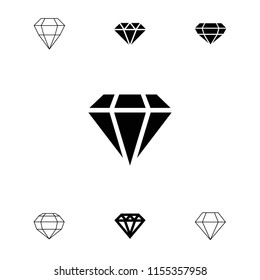 Gemstone icon. collection of 7 gemstone filled and outline icons such as diamond. editable gemstone icons for web and mobile.
