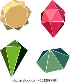 Gemstone and jewelry vector icon set