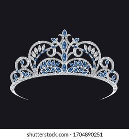 gemstone tiara, sapphires and diamonds vector illustration