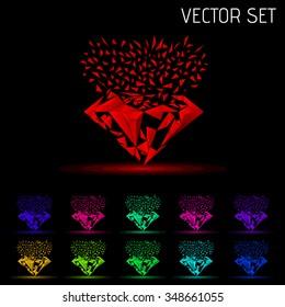 Gemstones around the world merge to be one Marvellous Diamond, sapphire logo, diamond logo, background for jewelry or gems company