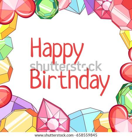 Gemstones Border Happy Birthday Card Vector Stock Vector Royalty